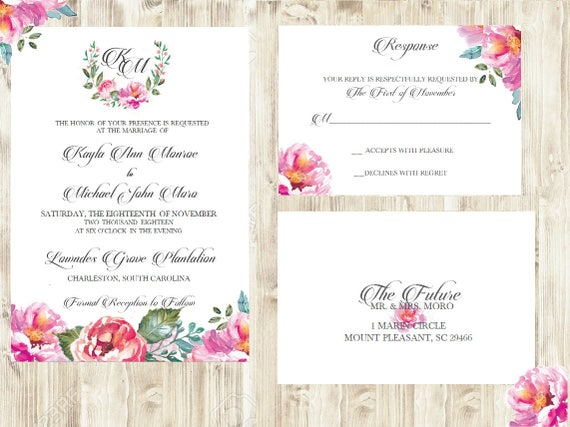 Peony Wedding Invitation / Peonies Wedding Invitation / Floral Wedding Invitation / DIY / Printable