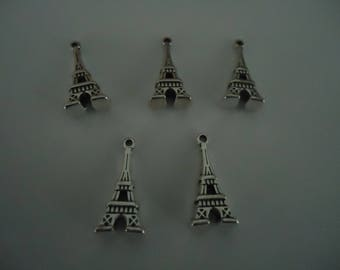 set of 5 charms - EIFFEL Tower - antique silver beads