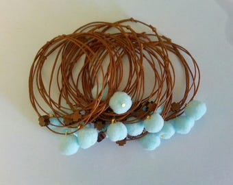Martyrika bracelets with light blue pom pom and wooden cross-Greek baptism-orthodox baptism -