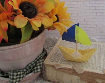 paper boat sail boat hexagon yellow ocean beach summer holidays baby shower nursery display fall thanksgiving table