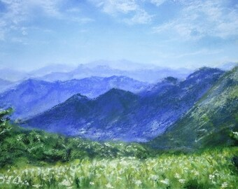 Gentle Alps mountainscape | Original Pastel Painting