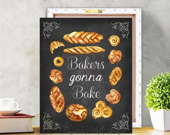 Bakery, Bakery Sign, Bakery Print, Kitchen Chalkboard, Bakery Art, Kitchen Illustration, Bakery Poster, Bakery Decor, Bakery Chalkboard