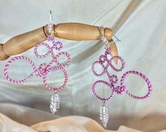 Pearl & Pink Bubbles Merino Wool and Glass Earrings