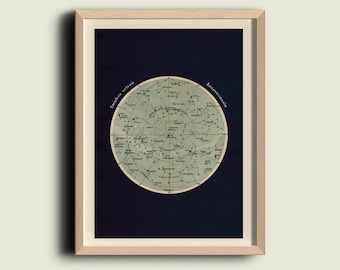 Antique Celestial Sphere Print Astronomy Chart Northern Hemisphere Stars Constellations