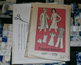 1960s Vintage Mail Order Pattern 4887, Misses Dress, Pants, Coat Size 14 1/2 Uncut