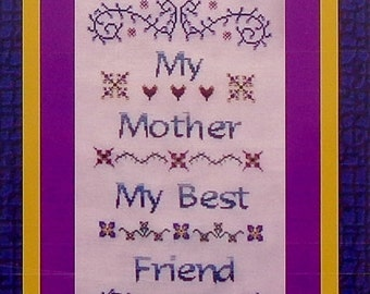 Cross Stitch Pattern | Turquoise Graphics & Designs MY MOTHER Sampler Mother's Day MOM Family - Counted Cross Stitch