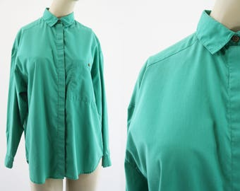 Vintage Diane Von Furstenberg Casual Cute Long Sleeve Woman's 80's Retro Button Down Blouse