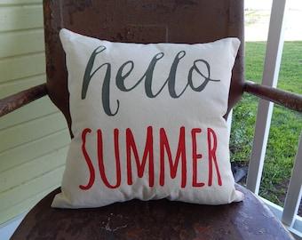 Cream Cotton Canvas HELLO SUMMER Throw Accent Pillow Summer Home Decor Custom Colors Throw Accent Pillow Custom Colors Available Home Decor