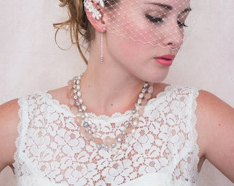 Ivory Birdcage Veil With Ivory Lace Applique