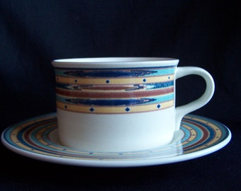 Mikasa Cup and Saucer Set in the Color Circuit Pattern