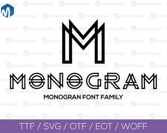 Monogram Font family SVG, Svg files for silhouette cameo or cricut commercial & personal use.