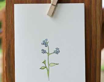 Forget-Me-Not // Handmade Blank Card // Watercolor