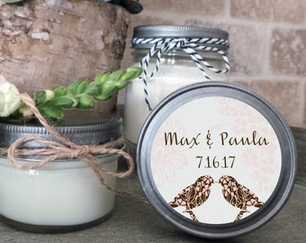 Soy Candle Wedding Favors - Set of 12  - 4 or 8 oz  - Wedding Favor Candles Love Birds - Personalized Wedding Favors/Shower Favors