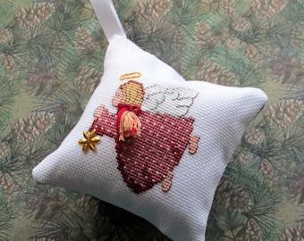 Christmas angel cross stitch ornament