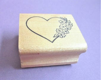 Hearts & Flowers Papercraft Rubber Stamp Valentine Paper Craft Card Making Scrapbooking Collage Stamping Supply Carved Wood Mount Stampin Up