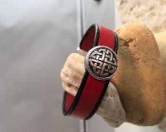 Red & Black Celtic leather bracelet
