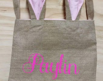 Easter Bunny Bag, Easter basket, Burlap Easter Bag, Monogrammed Easter Basket, Bunny Ears Burlap Bag.