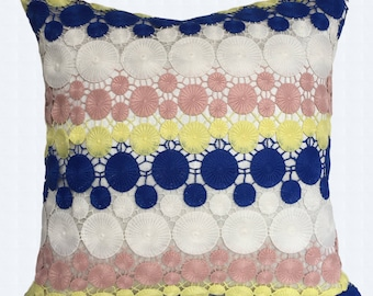 Blue & pink emboss Lace pillow. navy blue lace  pillow navy  blue  and lime yellow  lace pillow. festive pillow. 18x18 inch. custom  made