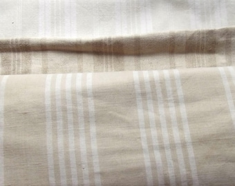 Large Pieces of Vintage French 1930s Striped Ticking Fabric Herringbone Buff Beige Ecru Natural Earth