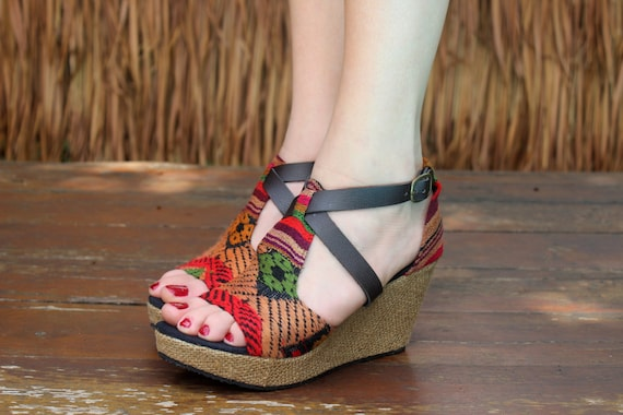 Heel Womens Leighanna Embroidered Faux Ethnic Straps Vegan Laos Sandals Leather Wedge 6zxqEvU