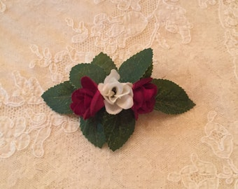 "4"" Burgandy and White Miniature Roses Barrette Custom Made"