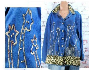 denim shirt -blue jean shirt women -embellished denim shirt -giraffe denim shirt -long sleeve denim shirt -casual shirt - women 18-20 # S 14