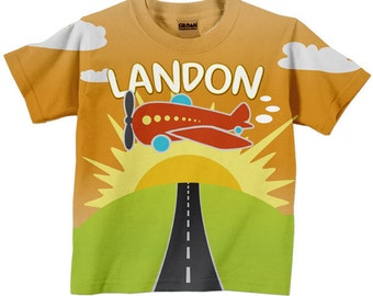 Personalized Boy's T-Shirt Airplane Name Toddler Tee, Childrens Clothing