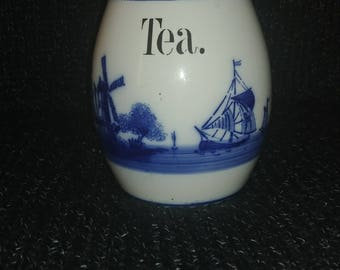 1920s delft blue tea canister