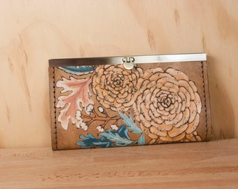 Leather Checkbook Wallet - Womens Clutch Style Wallet in the Proverbs 31 Pattern with Flowers and Leaves - Third Anniversary Gift for Her