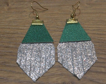 Holiday Titan Leather Earrings - Silver Glitter and Metallic Green