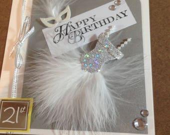 Stunning Sequin/Feather Dress Birthday Card