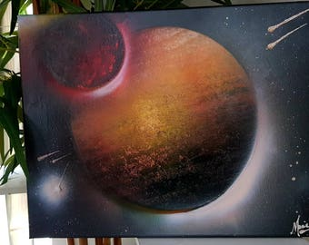 Planets spray art painting canvas