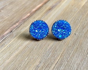 Sparkly blue studs, large studs, big studs, blue stud earrings, blue druzy, druzy studs, sparkles, 12mm studs, big druzy studs, gift ideas