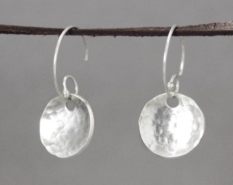 Small Silver Earrings, Hammered Silver Earrings, Silver Drop Earrings, HandStamped Earrings, Sterling Silver Jewelry, Sterling Earrings,