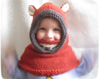 Hand knitted fox hood cowl
