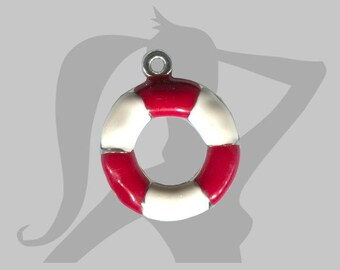 Charm - Pendant 25 mm silver, red and white buoy