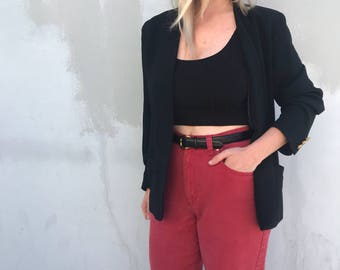 Vintage red high waisted jeans, 90s high rise jeans, 1990s mom jeans