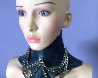 Latex neck corset with chains
