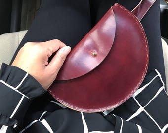 Burgundy Half Moon Leather Waistbag Extended