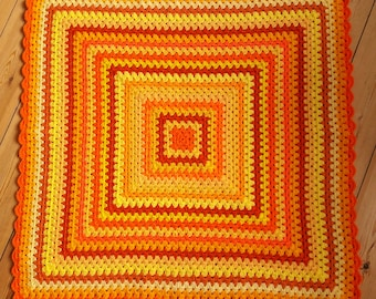 Yellow Crochet Baby Blanket Orange Crochet Baby Afghan Blanket IN STOCK