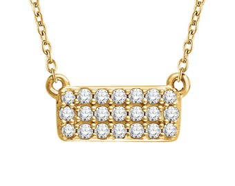 Rectangular Diamond Cluster Necklace - VS1 or SI Diamonds. 14k, 18k Yellow, Rose, White Gold & Platinum. Geometric Fine Jewelry