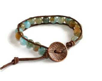 Blue Agate Beaded Leather Wrap Bracelet, Bohemian Jewelry, Stacking Bracelet, Boho Jewelry, Gemstone Bracelet, Leather Bracelet