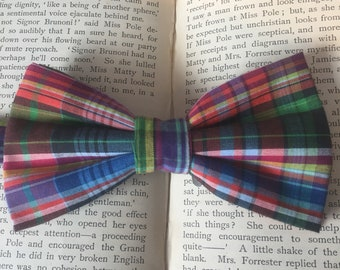 Checked Bow Tie, Multi Coloured Rainbow Bow Tie in Madras Style cotton, Flamboyant Gents Accessories