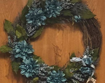 Blue Dahlia Wreath