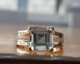 2 Carat Aquamarine Engagement Ring, Natural Aquamaring Ring