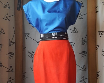 vintage Royal blue 1980s blouse