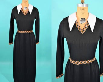 1970s maxi dress | white pointed collar black plaid detail dress | vintage 70s dress | W 28""