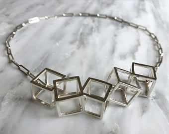 Contemporary Cube Statement Necklace, Statement Necklace, Unique Wedding Day Necklace, 3D Necklace, Geometric Necklace, Modern Necklace