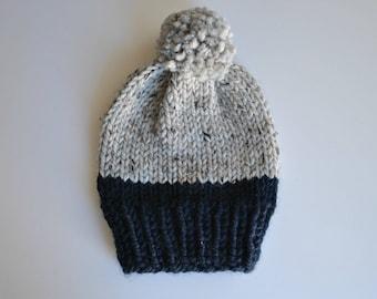 Knit Pom Pom Hat, Winter Hat, Pom Pom Hat, Sloucy Hat, Knit Hat, Chunky Hat, Chunky Knit Hat