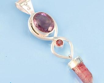 Amethyst, Rubellite & Pink Tourmaline Gem Pendant SP761